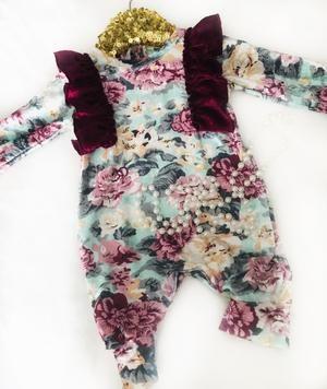 Mabel Rose Floral Velvet Jumpsuit