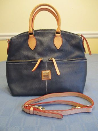 83109eb4cc37 Details about Dooney Dillen Leather Pocket Satchel - Navy Blue - NWT