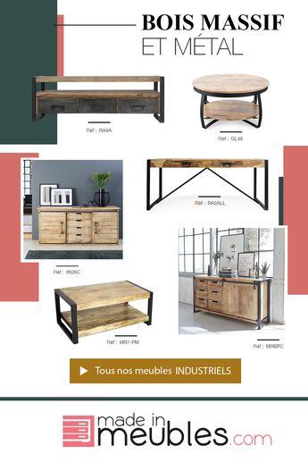 Nos meubles industriels associent deux matériaux de qualité à savoir le bois massif et le métal. Nous proposons différentes collections pour proposer du mobilier aux essences de bois différentes. Vous retrouverez principalement du manguier et de l'acacia. Nos meubles sont dotés de spécificités telles que des portes coulissantes, des tiroirs sur rails... Vous trouverez des tables à manger, buffets, tables basses, meubles tv... de qualité !