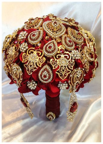 Gold Ruby Red Bridal brooch bouquet. FULL PRICE on Fall Autumn Wedding Broach bouquets. Perfect Indian wedding