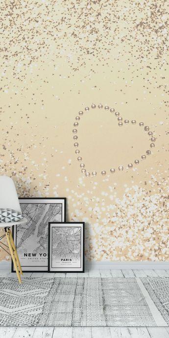 Gold Lady Glitter Heart 3 Wall mural