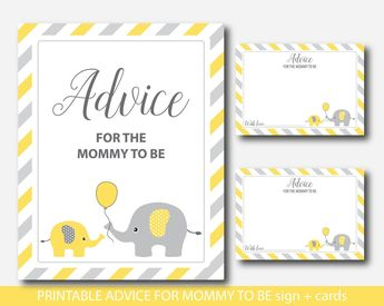 Yellow Advice for mommy to be cards with sign, Elephant advice for the new mom to be, Well wishes for mom, Baby advice game, BE5-09