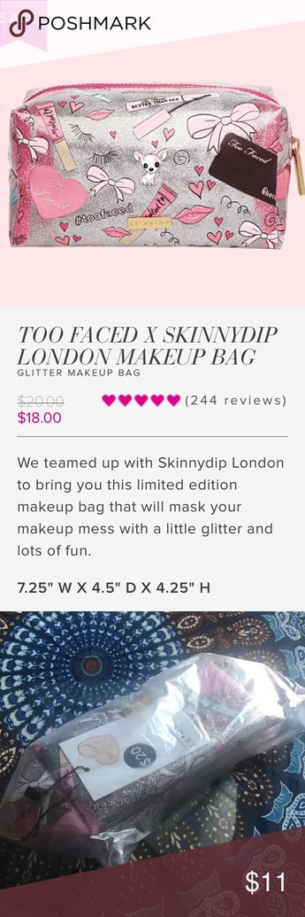 Too Faced x Skinnydip makeup bag NEW! Brand new, still in packaging Too Faced makeup bag. Clear with silver glitter. Super cute! Selling because I already have one and love it! 🎉❤️ Too Faced Bags Cosmetic Bags & Cases