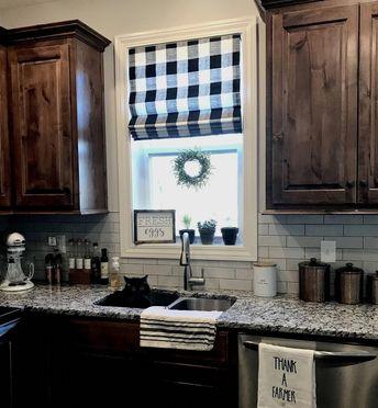 Modern #farmhouse Roman Shades QUICK SHIP buffalo plaid roman shades grey check kitchen window shades gingham roman shades black check window #KitchenDecorIdeas