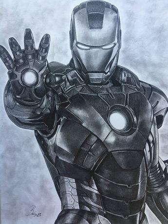 Ritratto originale a matita di Ironman, dimensione 30x40 cm. ( artwork-portrait-original-print-draw)