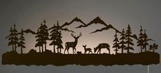 "42"" Deer Family LED Back Lit Lighted Metal Wall Art"
