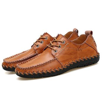 Men Hand Stitching Stylish Soft Breathable Lace Up Leather Casual Shoes