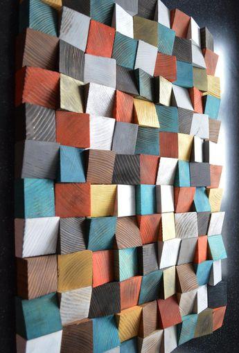 Geometric wood art, Wood Art, 3D Wall Art, Abstract painting on wood, Wall Installation, Wood pattern, Wood mosaic, Wooden wall panels