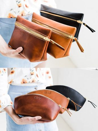 Makeup Bag Custom Leather Bag with Monogram Women's Bridesmaid gift personalized Gift for Her Girlfriend Makeup Bag Portland