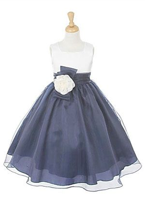 Girls Dress Style 2058- IVORY-NAVY Sleeveless Satin and Organza Dress with Sash and Flower