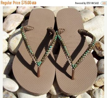 dcfb722b52108b Bronze Turquoise Beaded Flip Flops Decorated Handmade Sandals based on  Bronze Rose Gold Havaianas Flat Thongs