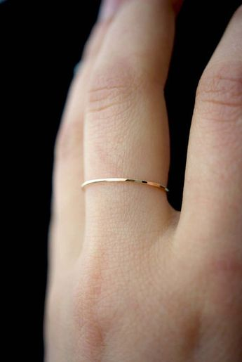 Ultra Thin Gold Stacking ring, hammered stacking ring, 14k gold fill stacking ring, 14k gold fill stackable ring, delicate gold ring, thin