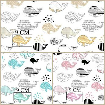 Whales Fabric Fish Whale Marine Scandinavian Gender Neutral Nursery Decor Cotton By
