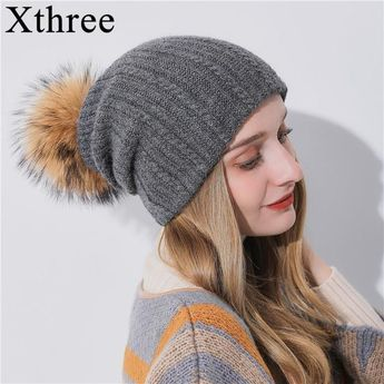 d88224d27d3a3 Xthree Multipurpose Winter Women S Hat With Raccoon Pom Pom Beanies Hat  Cashmere Knitted Hat Keep Warm