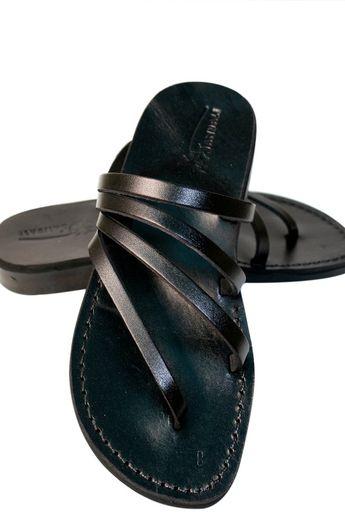 Black Rainbow Leather Sandals For Men & Women Handmade | Etsy