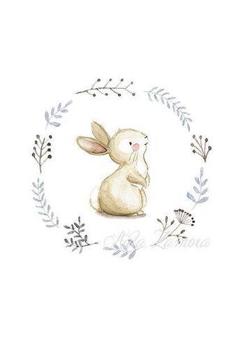 "NURSERY Art ""BUNNY"" Art Print, Nursery Illustration, Bunny nursery art, Bunnies wall art, Nursery wall art, Whimsical art, Bunny print"