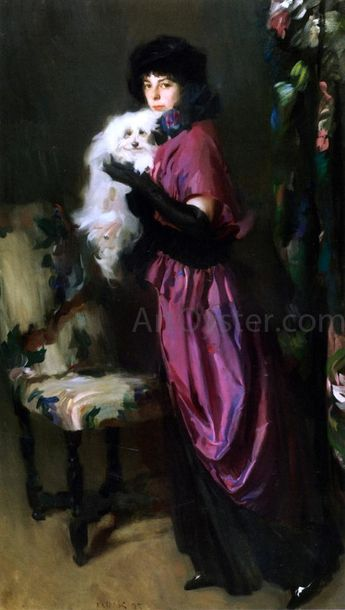 Elegant Woman with Her Dog by Albrogio Antonio Alciati - Hand Painted Oil Painting