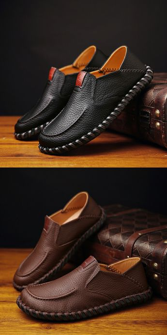 Vintage Luxury Men Casual Shoes Handmade Genuine Leather