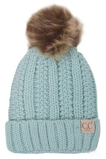 d50ff4c40d854 CC Beanie Fleece Lined Cable Knit Beanie with Pompom for Kids in Mint KIDS -820