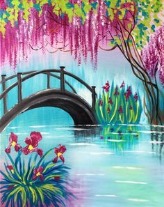 Spring Bridge at Wellington Eatery - Paint Nite Events near Ottawa, Flowering tree and Iris flower painting for beginners.