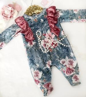 Kryssi Kouture Country Garden Blue Floral Velvet Ruffle Romper