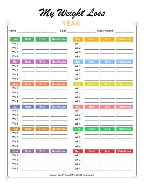 Bright and colorful, this annual weight loss tracker has space for weight at the start and end of every week for one year, with each month set in a different color. Free to download and print