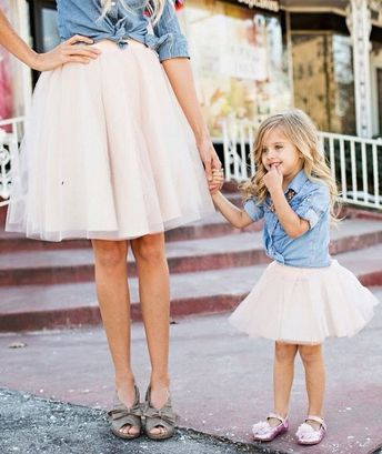 66d2d59f7583 Mom and Me Matching Tutu Skirt and Jean Shirt Outfit