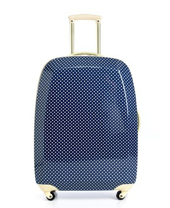 navy polka dot hardside suitcase