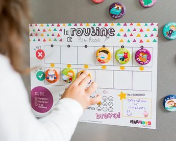 My Daily Routine motivational kit - Routine chart for children - Magnets - Dry-erase magnetic board - Minimo playful motivation