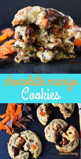 Chocolate Mango Cookies. Citrus dough with sweet dried mango and dark chocolate chunks. A tropical paradise cookie. www.modernhoney.com