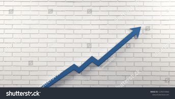 Blue Graph Arrow of Improvement Wall. 3D Render Illustration.  #business #growth #arrow #business #blue #wall #white