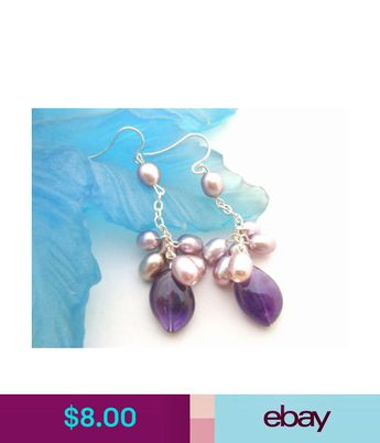 Earrings Purple Pearl Amethyst Earring Silver Hook Ebay Fashion