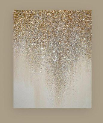 "Metallic Art Painting Acrylic Abstract Original Art on Canvas by Ora Birenbaum Beach Shabby Chic Titled: Silver Ribbons 4 30x60x1.5"""