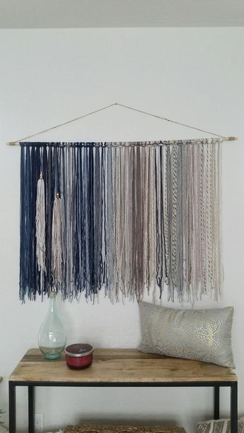 Tapestry, Yarn Tapestry, Yarn Wall Hanging, Blue, Mauve, Gray and Beige