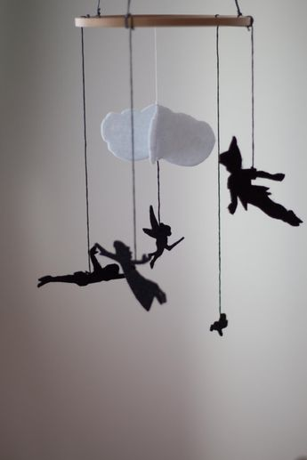 Peter Pan Baby Room Decor, Nursery Decor, Felt Mobile, Kids Room Decor, Baby Crib Mobile, Felt Decoration, Baby Shower Gift, Silhouette