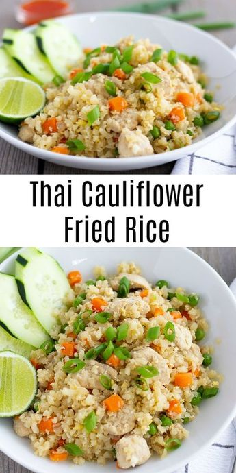Thai Cauliflower Fried Rice with Chicken- ThaiCaliente.com