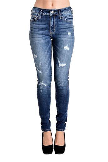 36d75525e226 Women s High Rise Destroyed Skinny Jeans Dark Wash KC8227D - CB12MXR0APH