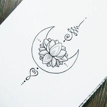 Unalome Tätowierung Mond Lotus | Tattoos