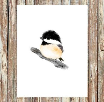 Multiple Purchase Discount: 20% off with minimum purchase of $30 or more. Use coupon code: FFB618 Black-Capped Chickadee Bird Print Brighten up any room with this nature print from my original art, features a whimsical bird on a white background, minimalist style. Perfect for baby