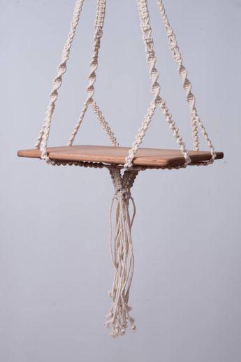 Usine de macramé suspendu table moderne cintre, suspendre étagère, coton 5 mm cordon, cadeau de douche de boho