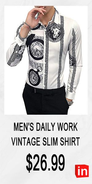 Men's Daily Work Vintage Slim Shirt - Animal / Tribal Classic Collar White XXL / Long Sleeve / Fall / Winter