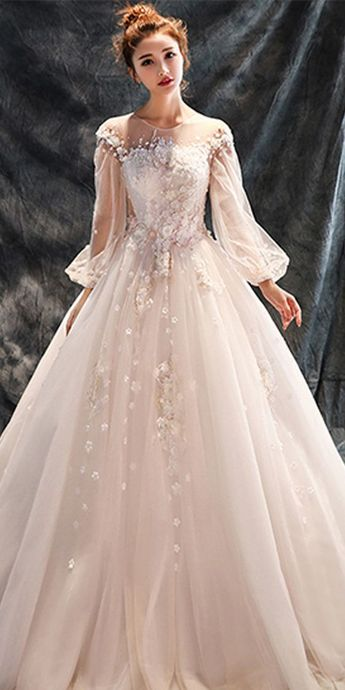 Pretty Tulle & Organza Jewel Neckline A-line Wedding Dress With Lace Appliques & 3D Flowers & Beadings,E0067