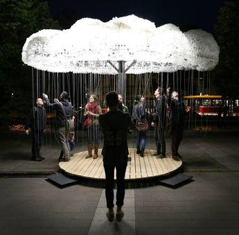 'Cloud', An Interactive Installation of 6,000 Clustered Light Bulbs With Individual Chains Raining Down