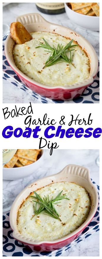 Garlic Herb Baked Goat Cheese Dip – melty, cheesy baked goat cheese dip with lots of garlic and herbs!