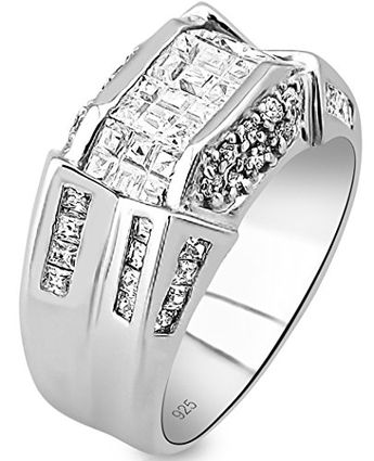 Men's Jewelry Men's Sterling Silver .925 Designer Ring Band Featuring 52 Round and Baguette Invisible and Channel Set Cubic Zirconia (CZ) Stones, Platinum Plated. Sizes: 6 7 8 10 11 12 13 ** You can find out more details at the link of the image.