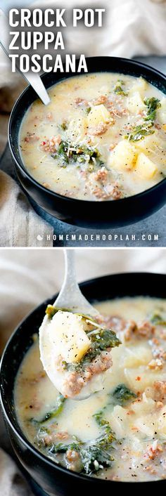 Crock Pot Zuppa Toscana! This crock pot zuppa toscana soup is an Olive Garden copycat recipe that makes it easy to bring the taste of Italy home. An easy dinner for busy weekdays!   HomemadeHooplah.com