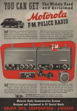 Motorola FM two-way police radio advertisement, USA, 1943.  Motorolasolutions.com