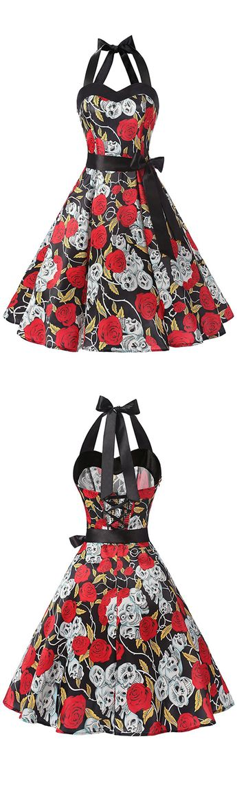 50s Vintage Style Halter Black Floral Print Dress With Bowknot