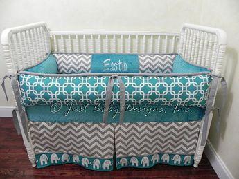 Custom Crib Bedding Set Eastin - Boy Baby Bedding, Elephant Crib Bedding, Teal Baby Bedding with Gray Chevron