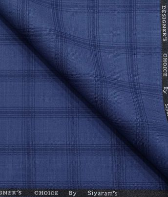 7476fa36d Marconi by Siyaram s Light BlueTerry Rayon Blue Broad Checks Unstitched  Suiting Fabric
